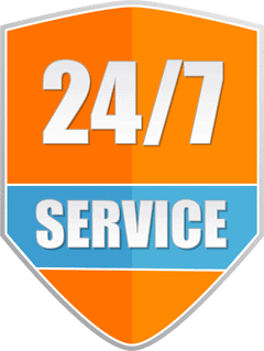 Orange badge with the words '24/7 service'
